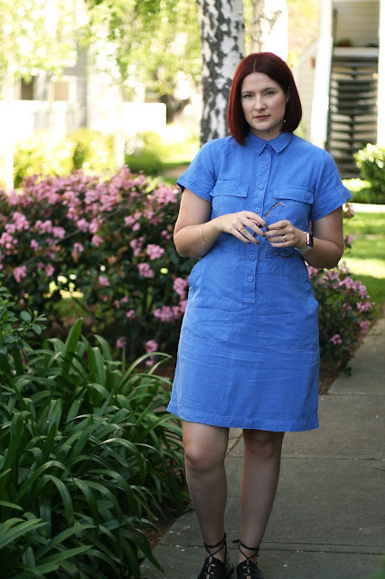 J Crew, Blue dress, spring style, fashion blogger, womenswear, red hair, cobalt blue