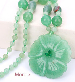 Natural Stone Necklaces Women's Jewelry Aventurine Jade Flowers Pendant
