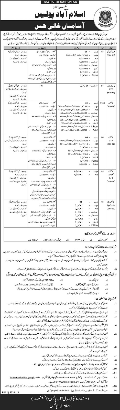 NTS Jobs in Islamabad Capital Territory Police for ASI, Constable, Head Constable