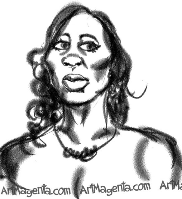 Venus Williams caricature cartoon. Portrait drawing by caricaturist Artmagenta