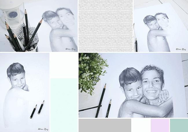 Moodboard retrato a lápiz madre e hijo