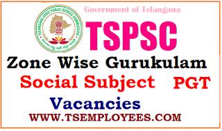 TSPSC Zone Wise Gurukulam Social Subject PGT Vacancies