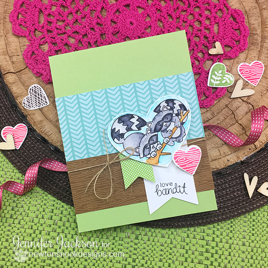 Love Bandit card by Jennifer Jackson | Woodland Duos Stamp set by Newton's Nook Designs #newtonsnook