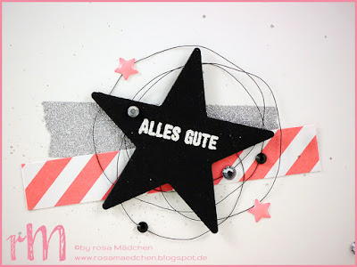 Stampin' Up! rosa Mädchen Kulmbach: Stamp A(r)ttack Blog Hop (7 auf einen Streich): Materialbingo - moderne Geburtstagskarte mit Wink of Stella, Glitzersteinen, Lack-Akzenten, Washi Tape, Embossingpulver und Bannerweise Grüße