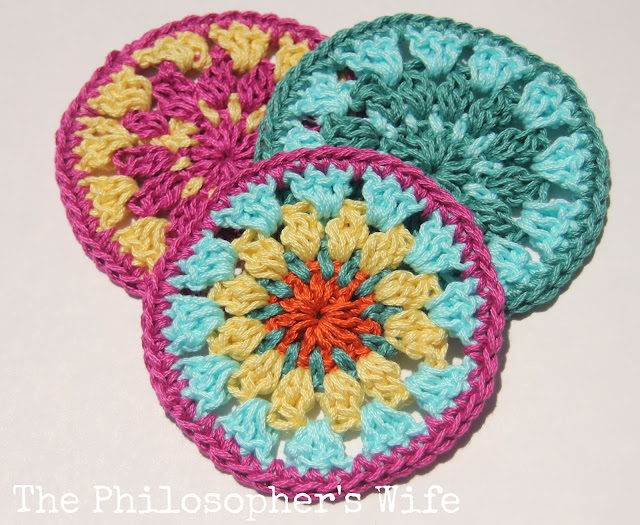 ... Wife: Free Crochet Coaster Pattern using Lion Brands 24/7 Cotton Yarn