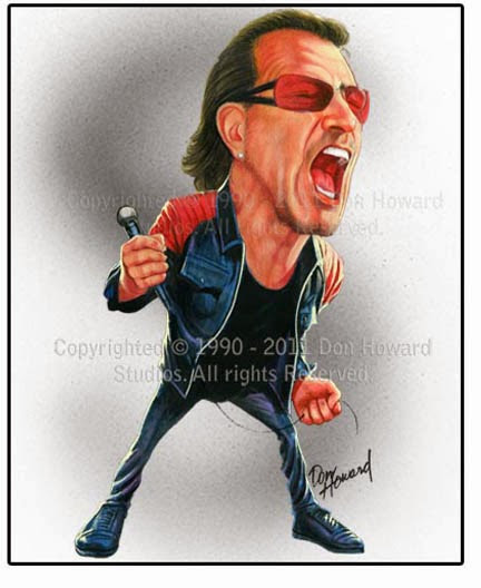Don Howard Limited Edition Celebrity Caricature of Bono