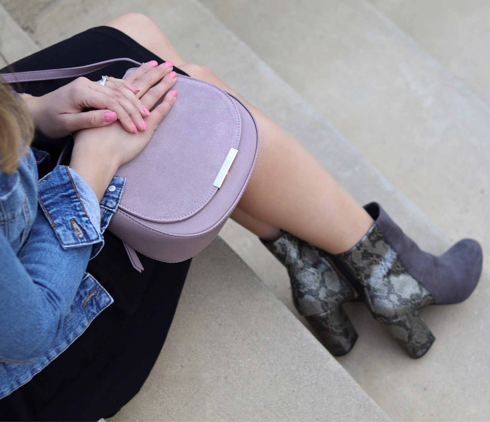mauve crossbody purse, gray snakeskin ankle booties, affordable handbags