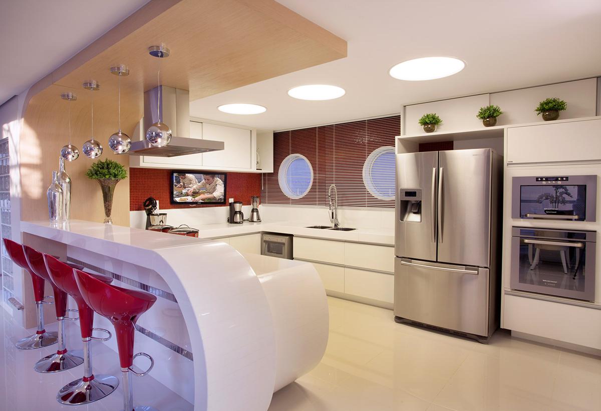 Construindo Minha Casa Clean 10 Cozinhas Americanas com Penínsulas! Veja as  # Cozinha Com Ilha Estreita