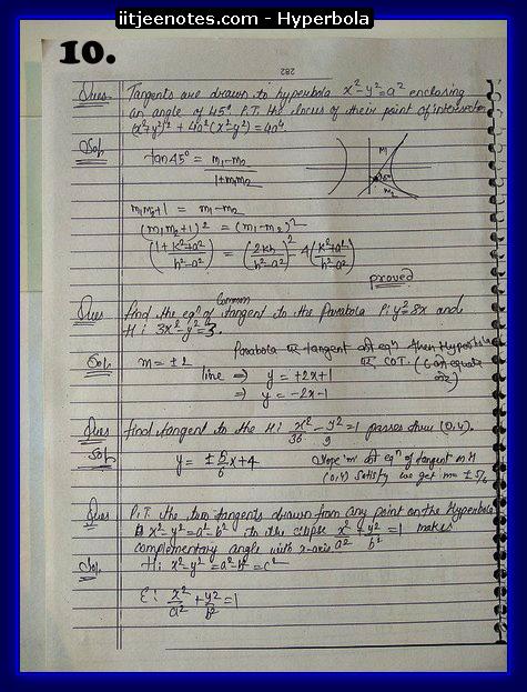 hyperbola cbse notes