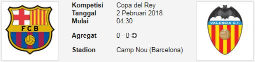 Pertandingan seru dari laga Copa del Rey BIGMATCH COPA DEL REY BARCELONA Vs VALENCIA