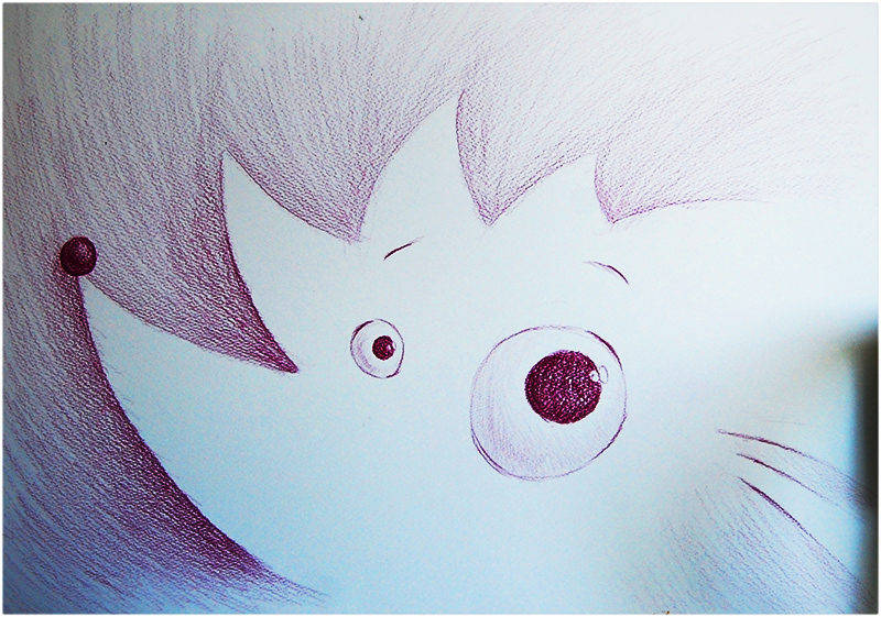 Cartoon hedgehog pencil drawing