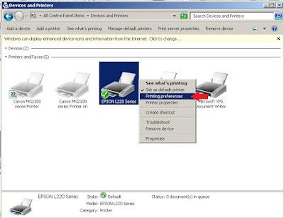 Cara Melakukan investigasi kondisi printer Epson L Cara Mencetak Nozzle Check pada Printer EPSON