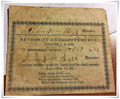 Alanson Hayes Church Ticket in Bible