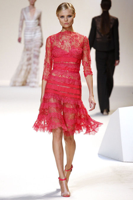 d0cc6e7f0be It s hard to pick a favorite but we have to say the vibrant raspberry pink  lace dress below worn by model Magdalena Frackowiak is gorgeous!