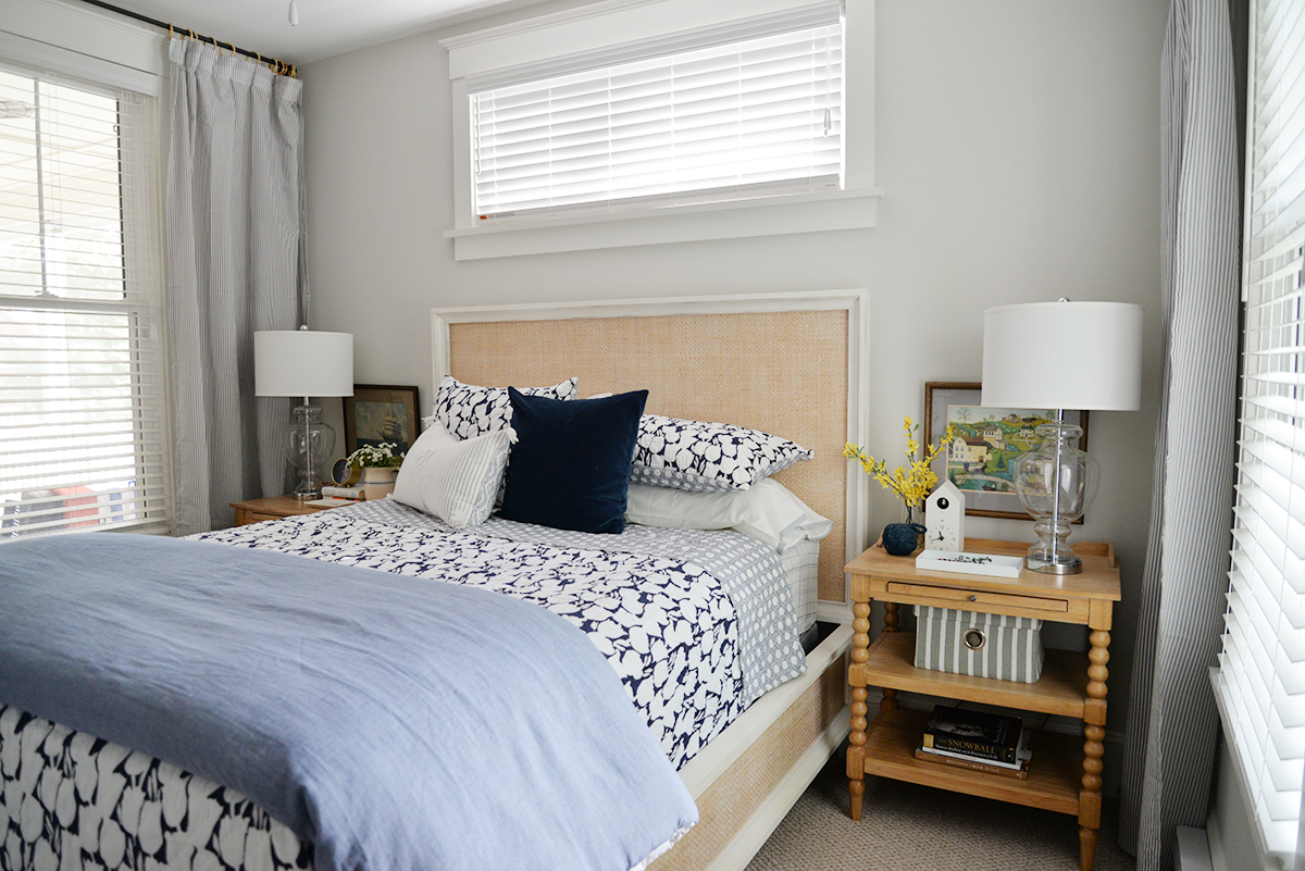 cottage bedroom, Serena & Lily bedding, Cortina quilt, modern country bedroom