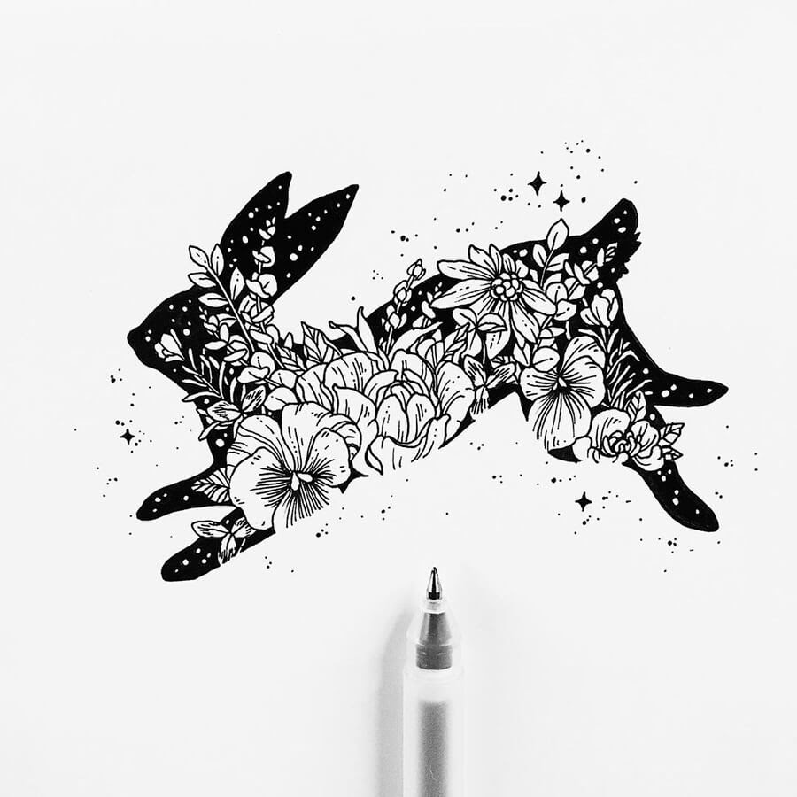 05-Hare-and-Flowers-Ink-Drawings-Stephanie-Mai-www-designstack-co