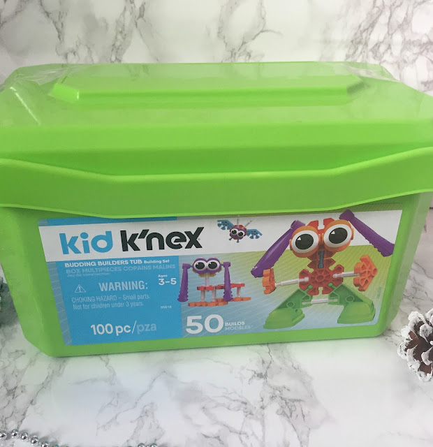 tub of kid K'nex construction toy