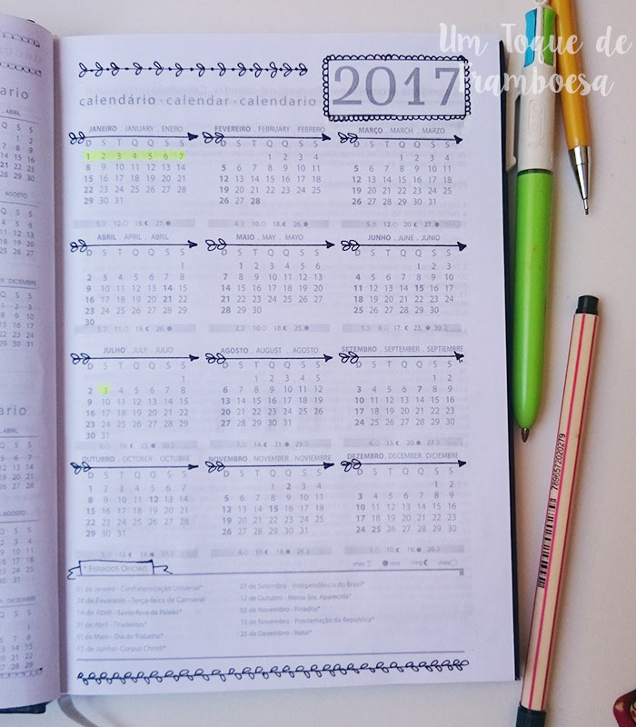 calendário de agenda 2017 personalizado