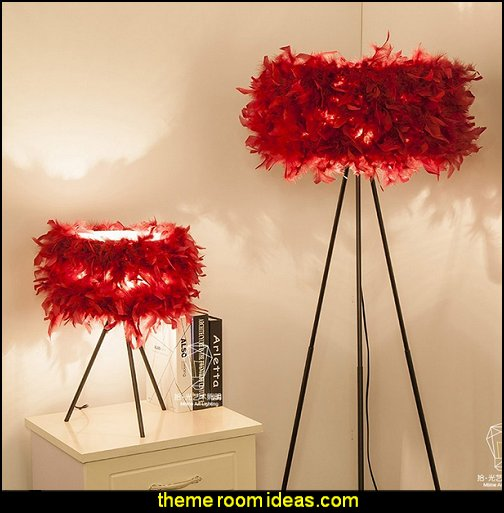 red feathers  Lamps    Moulin Rouge Victorian Boudoir style bedroom decorating ideas - Moulin Rouge style bedroom ideas - boudoir themed decor - Moulin Rouge decor ideas -  French boudoir themed bedrooms - sexy themed bedroom decorating ideas - boudoir furniture - bordello bedrooms - Romantic style bedrooms - French Victorian boudoir - feathery lamps