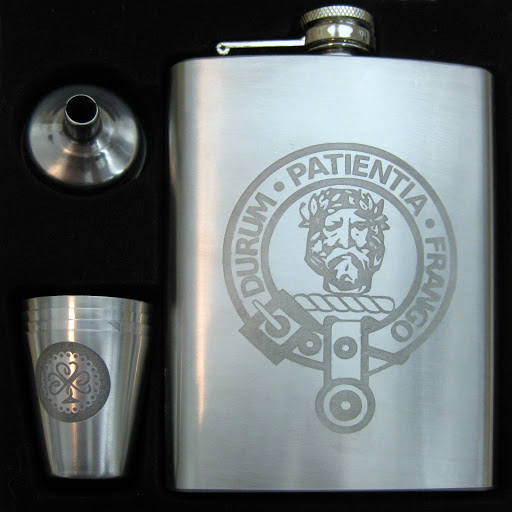 Stainless Steel Hipflask and Shot Glasses Etched with Edinburgh Etch Solution (Ferric Chloride) using Vinyl Resists Cut with Silhouette Cameo.  Tutorial by Nadine Muir for Silhouette UK Blog