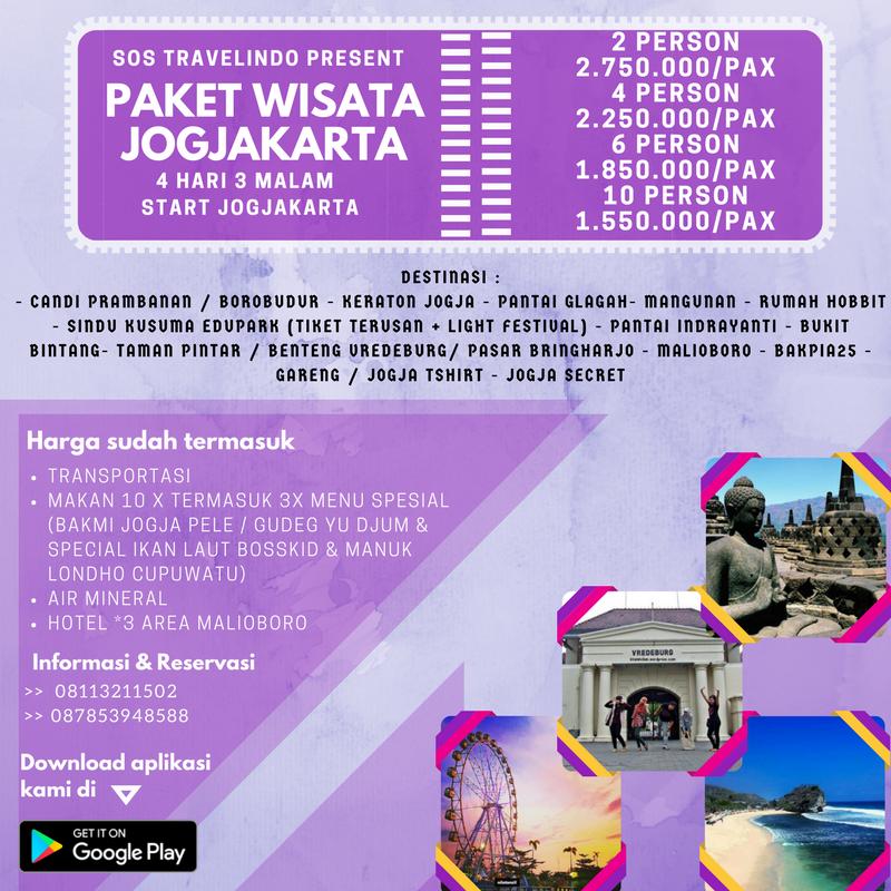 Paket Wisata Jogjakarta 4 Hari 3 Malam Start Jogjakarta Sos Travelindo