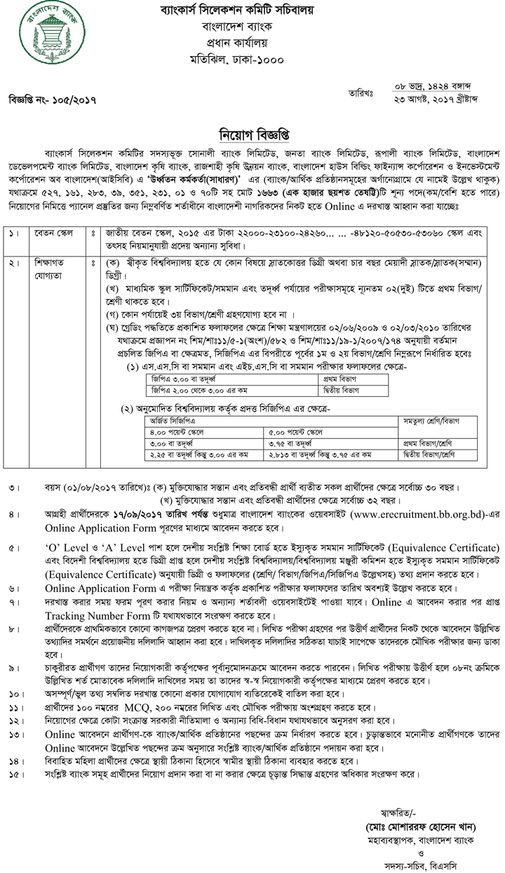 Bangladesh Development Bank Limited Job Circular 2018 1