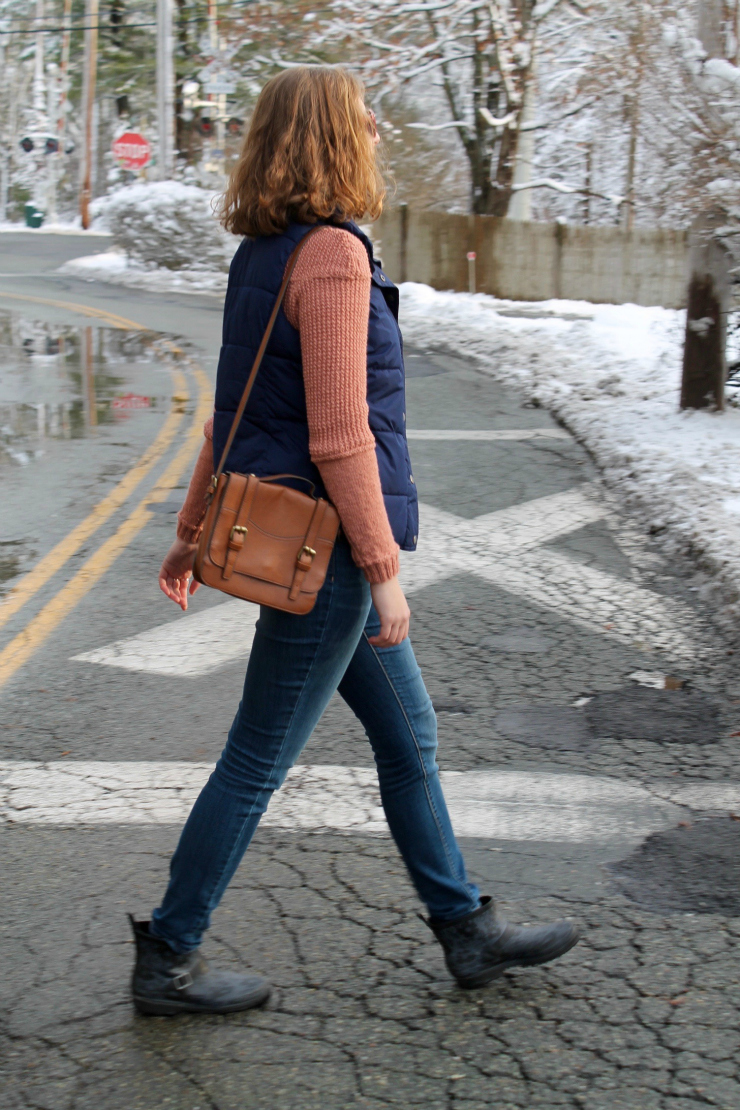 New England sweater, puffer vest, jeans and ankle boots for a cute winter outfit #ootd #style