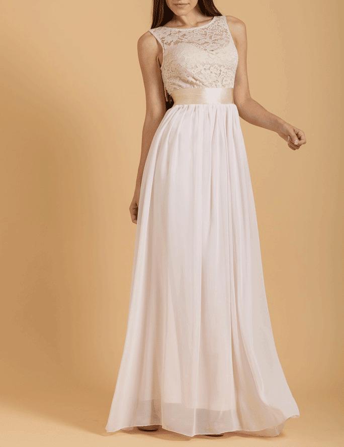 maxi φόρεμα από μουσελίνα και δαντέλα Φόρεμα maxi μουσελίνα με top δαντέλα  ... e523ccbb4ab