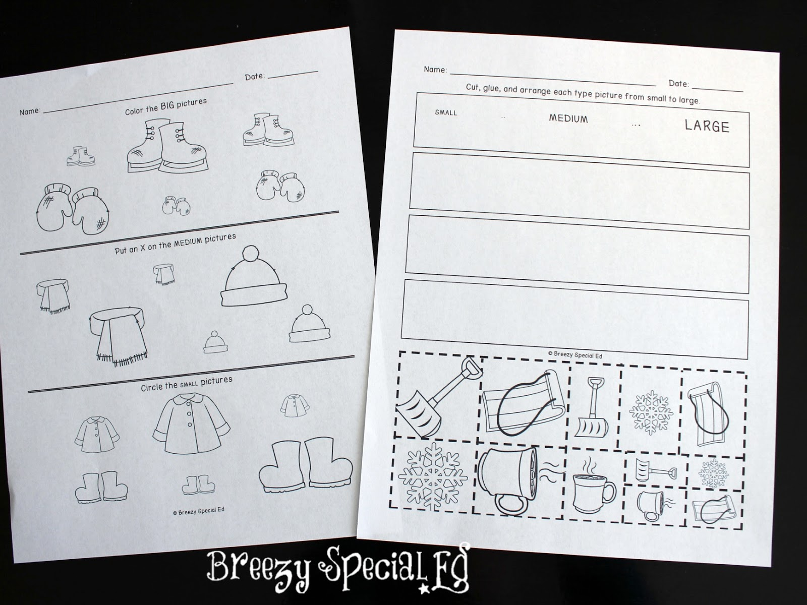 Printables Special Education Math Worksheets breezy special ed winter themed la math and crafts lessons for sizes