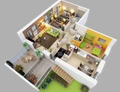 Model Gambar Denah Rumah 3 Kamar Tidur Minimalis 3D