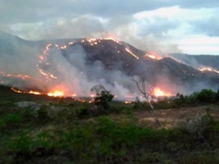 Chapada Diamantina:Incêndio atinge local próximo à Área de Preservação Ambiental