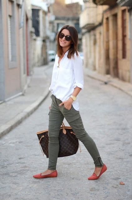 olive green skinny cargos white blouse red flats casual outfit street style
