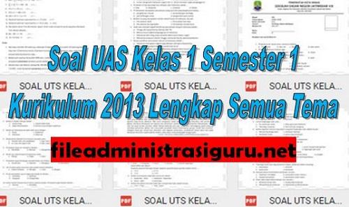 Soal UAS Kelas 1 Semester 1 Kurikulum 2013 Lengkap Semua Tema