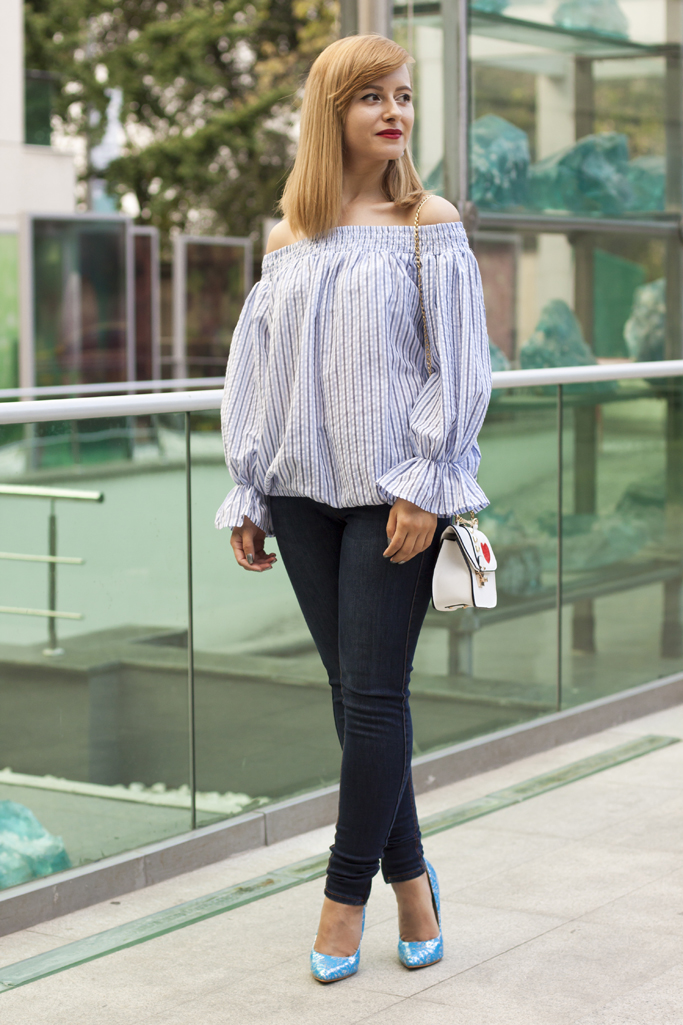 off the shoulder blouse with long sleeves