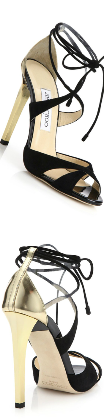 Jimmy Choo Teira Suede & Patent Leather Lace-Up Sandals black/gold