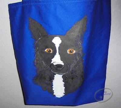 malowany pies na torbie szycie i rękodzieło