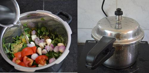 murungai keerai soup in pressure cooker