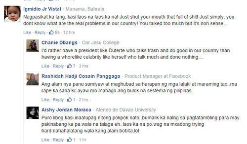 Mystica's reaction to Duterte gained a lot of flak from netizens