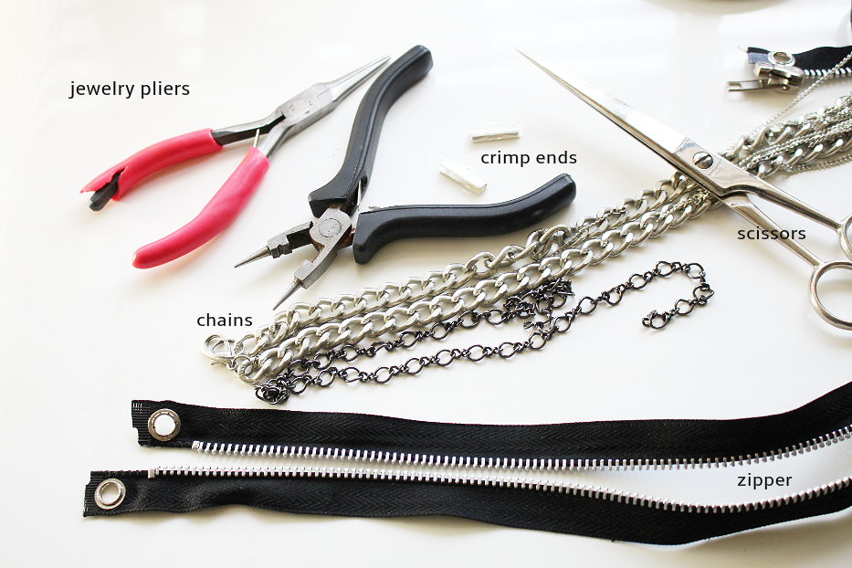 DIY zipper choker, how to make zipper choker