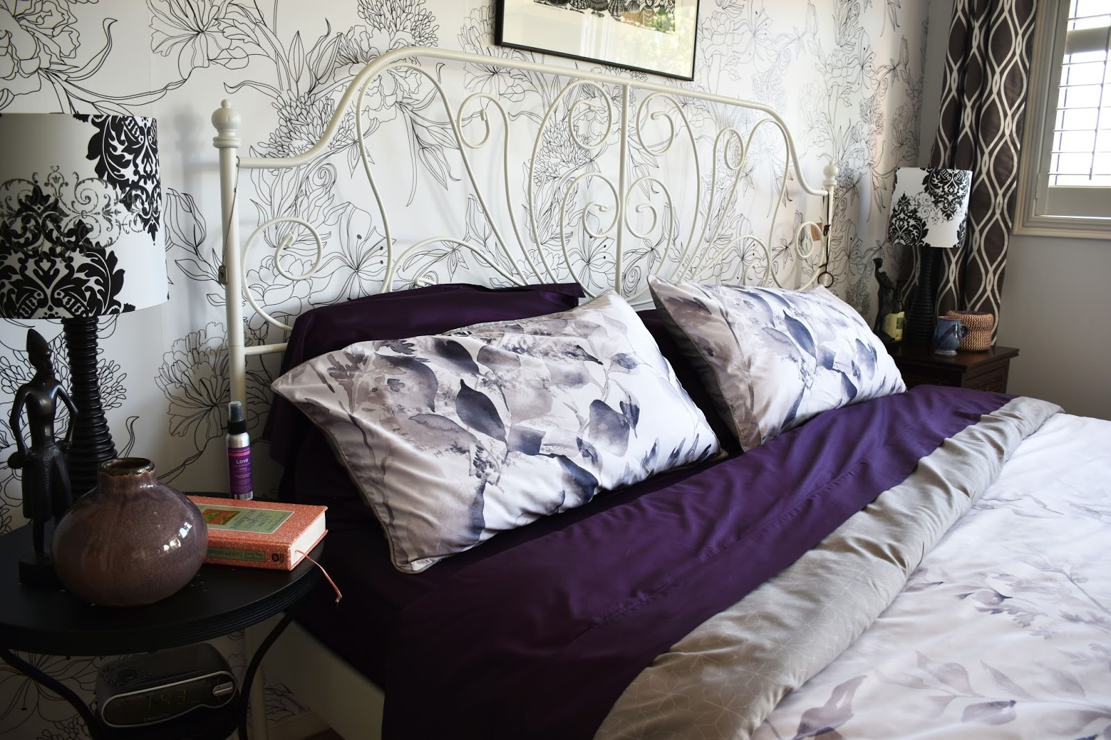 i found what i wanted in qe homes carlingdale laurel collection with their duvet cover and pillow shams laurel features smoky grey watercolour leaves
