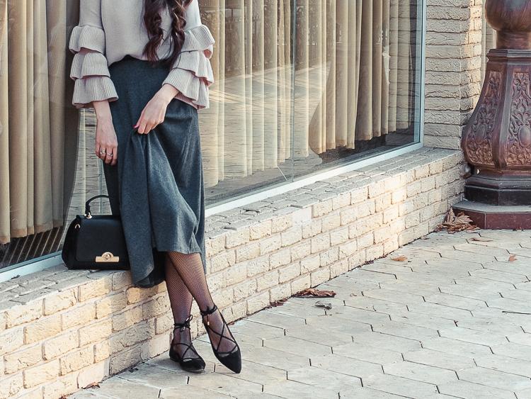 fashion blogger diyorasnotes ruffle top shein grey midi skirt lace up shoes mango beet elegant outfit