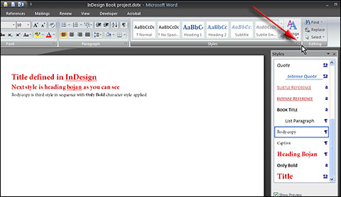 Apply imported styles in MS Word