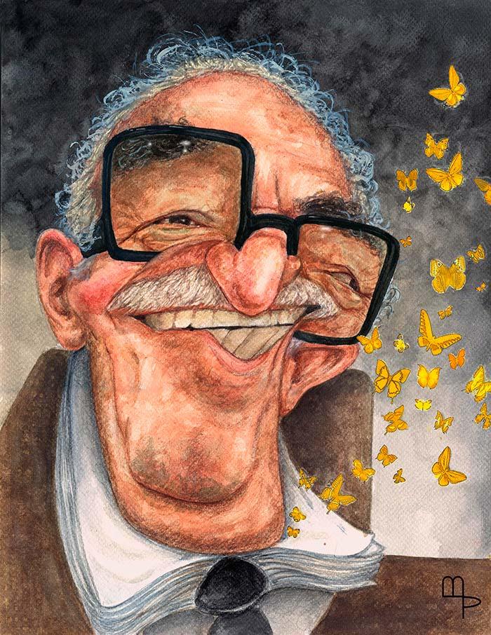 Gabriel García Márquez, caricatura por Mauricio Parra