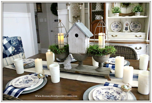 French Country Farmhouse-Dining Room-French Farmhouse-Buffalo Check-Blue and White-Milk Glass-Bird Nest-Pottery Barn-From My Front Porch To Yours