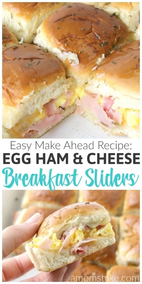 HAM EGG AND CHEESE BREAKFAST SLIDERS #breakfast #easy #Ham #sliders