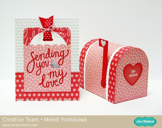 Valentine's Day Gift Box & Card set by Mendi Yoshikawa (using Lori Whitlock mailbox cutting file & Pebbles papers)