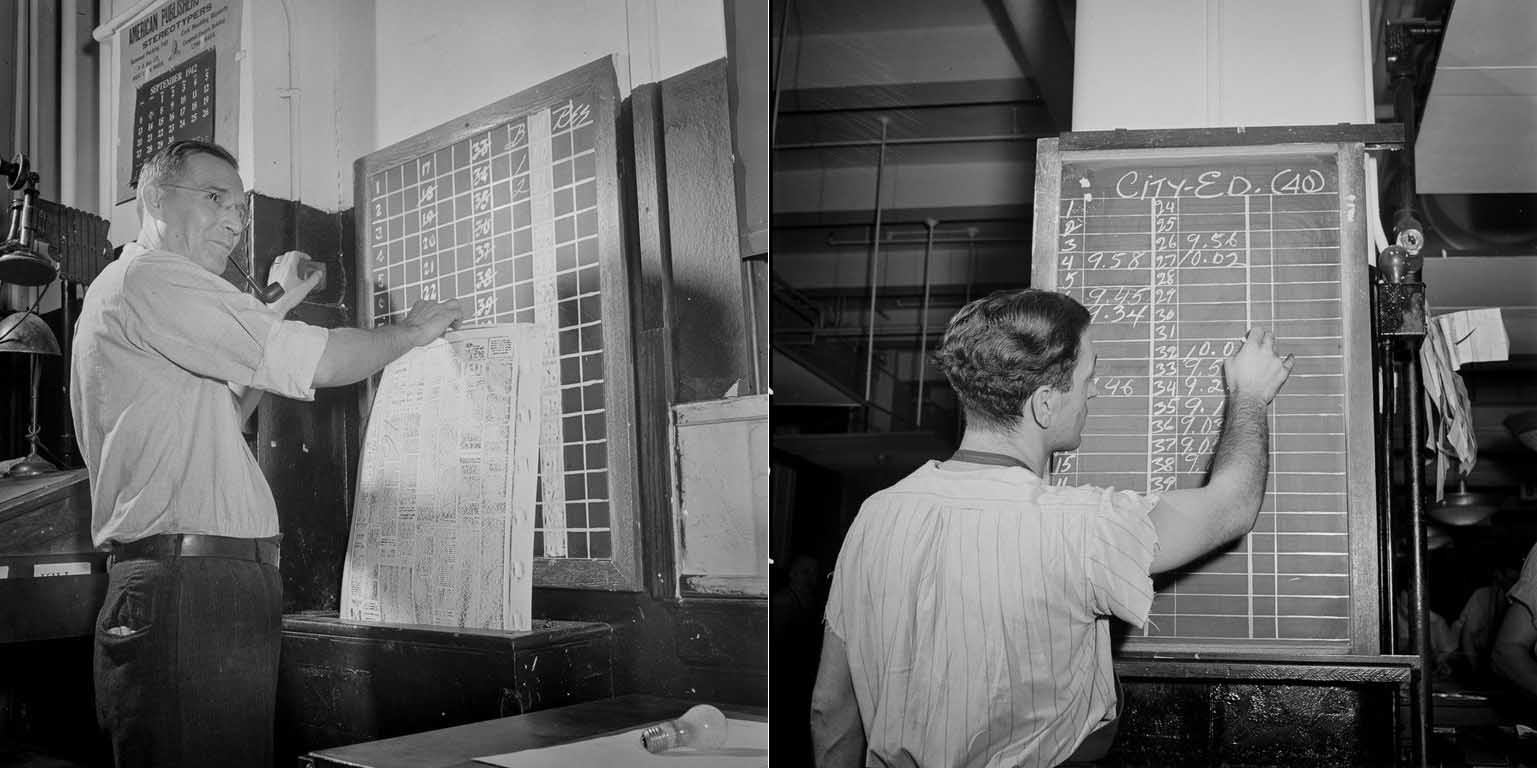 (Left) (Completed mats are checked on board by page, then sent down a chute to the stereotype room. (Right) As make-up of each page is completed, time is marked on a board.