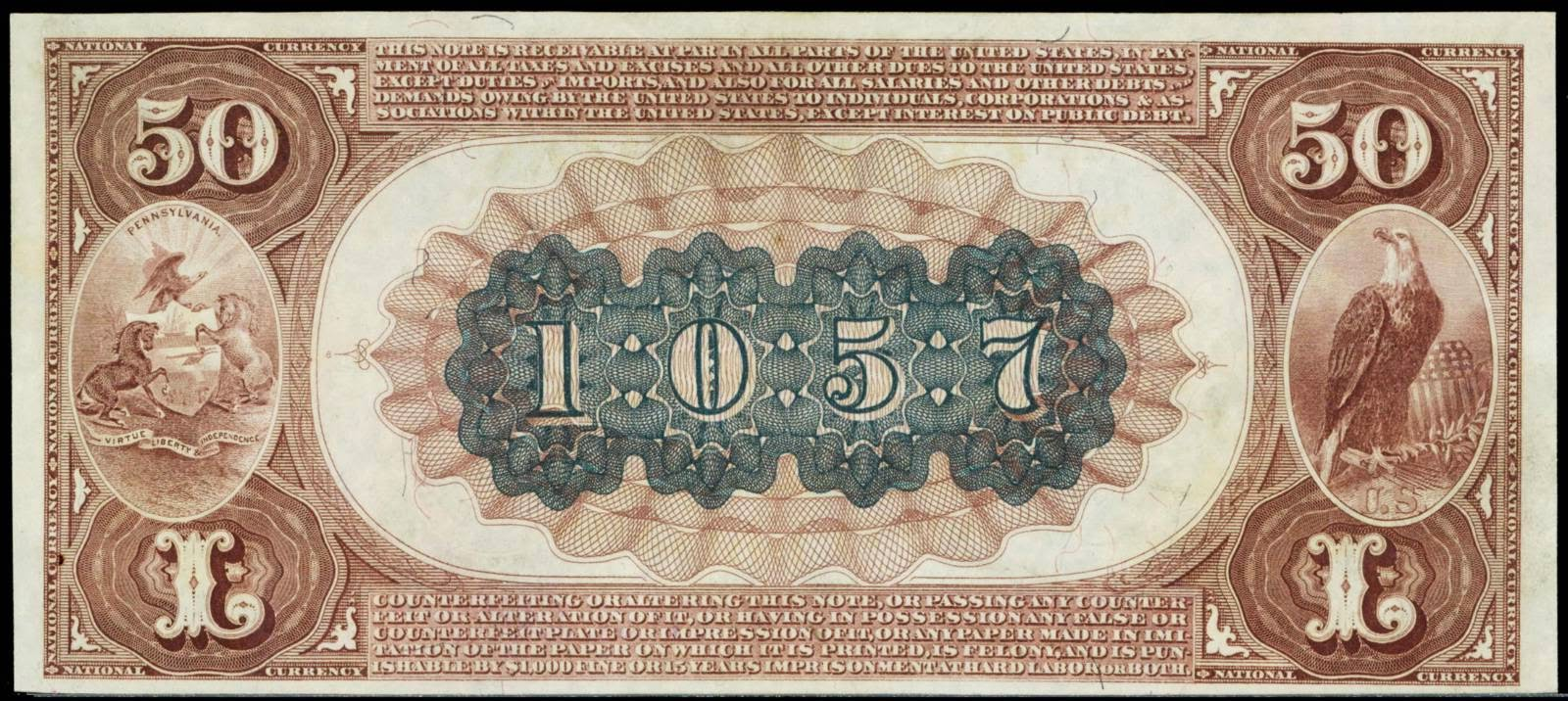 1882 Fifty Dollar Brown Back National currency banknotes