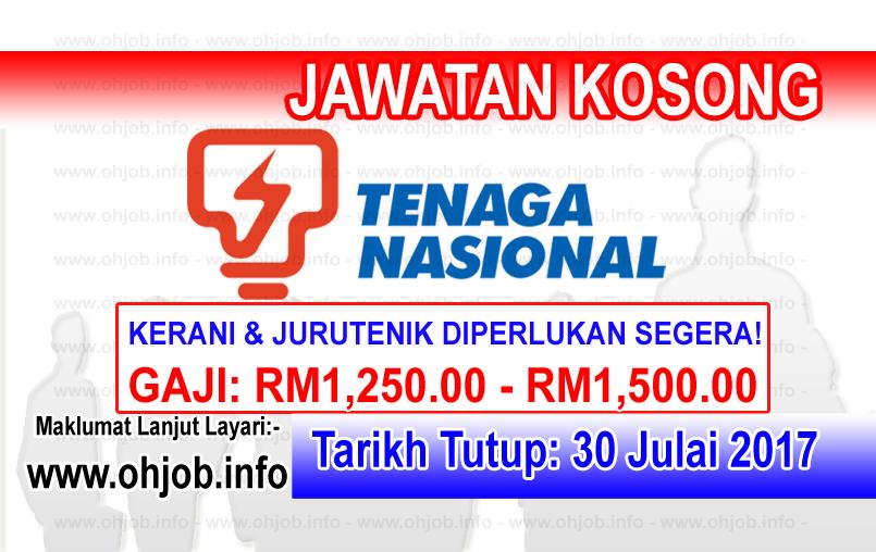 Jawatan Kerja Kosong Tenaga Nasional Berhad - TNB logo www.ohjob.info julai 2017