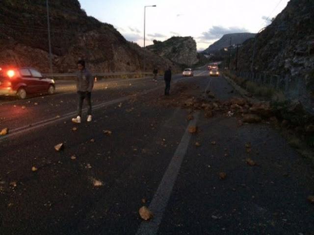 Bρέχει… βράχια στην Κρήτη! Σε πανικό οι οδηγοί! (ΦΩΤΟΓΡΑΦΙΕΣ)